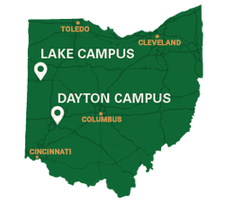 Map of Wright State University Dayton and Lake Campuses