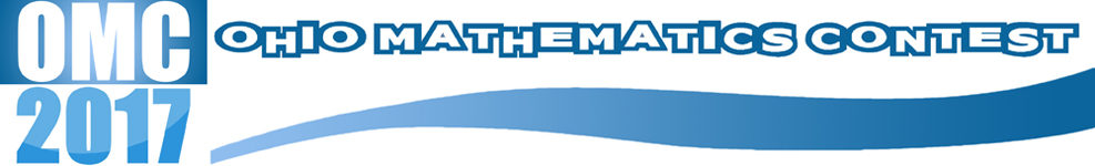 2017 Ohio Math Contest blue and white logo with swoop