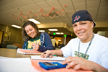 photo of two students studying