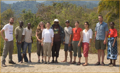 Tuungane Project field participants are pictured with Wright State investigators Dr. Yvonne Vadeboncoeur, Renalda Munubi, Lesley Kim, and Ryan Satchell (photo by Saskia Marijnissen)